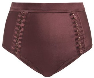 Zimmermann Button-detail Bikini Briefs - Womens - Burgundy