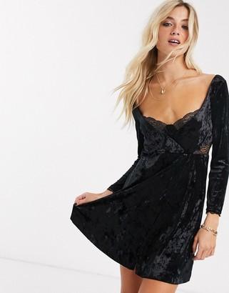 Free People kat velvet mini dress in black