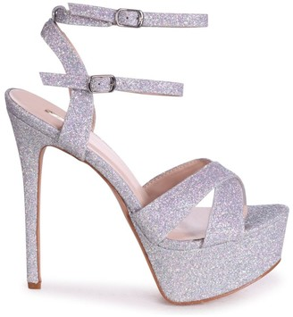 Linzi MIA - Silver Glitter Heavy Stiletto Platform With Double Ankle Strap & Crossover Front Strap