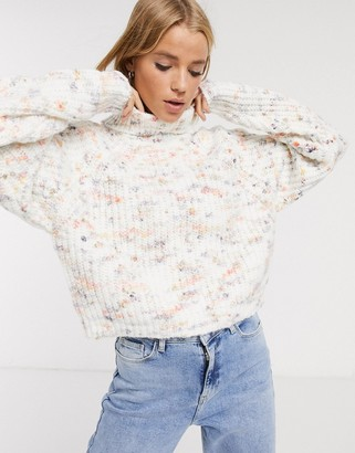ASOS DESIGN pastel space dye chunky sweater with high neck