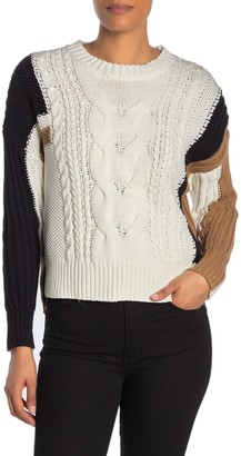 360 Cashmere Amelia Colorblock Cable Knit Sweater