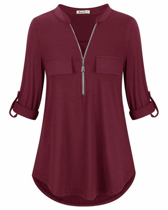 Moyabo Womens 3/4 Roll-up Sleeve Zip Up Shirts to Wear with Leggings Casual V Neck Blouse Tops Burgundy X-Large