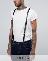 Reclaimed Vintage Leather Suspenders Black