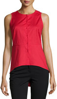 Neiman Marcus Solid Button-Front Peplum Blouse, Red