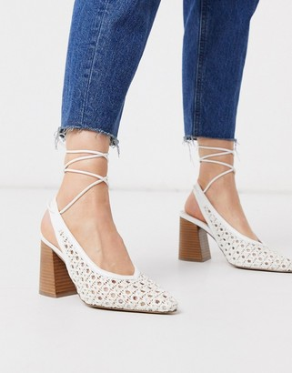 ASOS DESIGN Shay tie leg pointed heels white