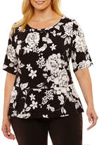 Liz Claiborne Elbow Sleeve Peplum Top Plus