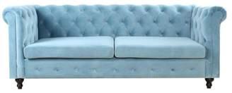 Plata Import Morven Velvet Chesterfield-Style Tufted Sofa, Light Blue