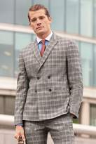 Mens Next Grey/Tan Double Breasted Slim Fit Check Suit: Jacket - Grey