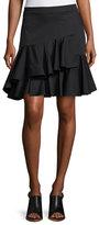 Rebecca Taylor Cotton Ruffled Mini Skirt, Black