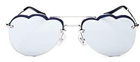 Miu Miu Women's Mirrored Brow Bar Scalloped Aviator Sunglasses, 58mm
