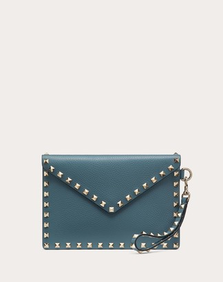 Valentino Medium Rockstud Grainy Calfskin Envelope Pouch With Detachable Strap Women Amadeus 100% Pelle Di Vitello - Bos Taurus OneSize
