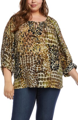 Karen Kane Mixed Animal Print Peasant Top