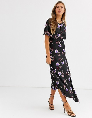 Liquorish asymmetric maxi dress in floral