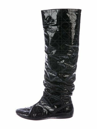 Christian Dior Patent Leather Slouch Boots Black