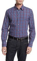 Neiman Marcus Plaid Long-Sleeve Sport Shirt, Blue/Gray/Cranberry