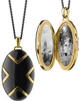 "Monica Rich Kosann 18k Black Ceramic Oval X Locket, 30""L"