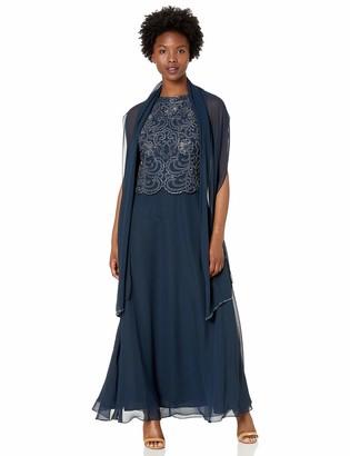 J Kara Women's Petite Sleeveless Scallop Long Beaded Dress W/Scarf