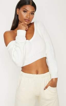 PrettyLittleThing Blush V Neck Off Shoulder Soft Knitted Crop Jumper