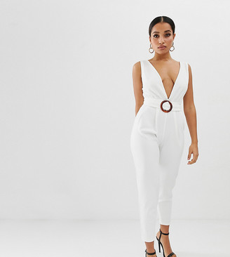 ASOS DESIGN petite deep plunge jumpsuit with buckle belt and peg leg