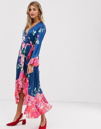 Liquorish wrap front midi tea dress in floral print