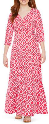 Ronni Nicole Petite 3/4 Sleeve Geometric Maxi Dress