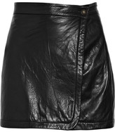 Wrap-front leather mini skirt