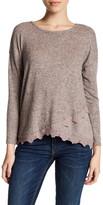 Bobeau Long Sleeve Crochet Hem Sweater (Petite)