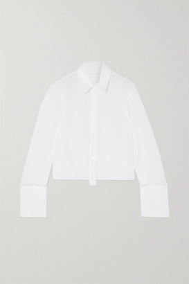 Helmut Lang Cropped Pleated Cotton-poplin Shirt - White