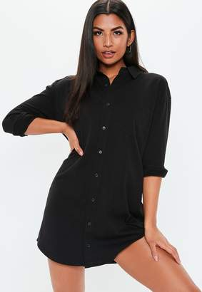 Missguided Petite Black Jersey Shirt Dress