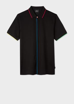 Paul Smith Men's Black Cotton-Pique Polo Shirt With Colourful Trims