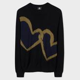 Paul Smith Men's Black Merino-Blend 'Chain-Link Heart' Sweater