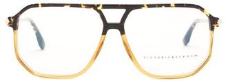 Victoria Beckham Aviator Tortoiseshell-gradient Acetate Glasses - Amber
