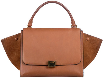 Celine Brown Leather And Suede Medium Trapeze Satchel