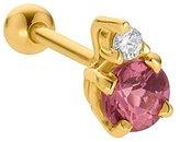 FreshTrends 3.5mm Pink Tourmaline (October) Diamond 14K Yellow Gold Cartilage Stud Earring