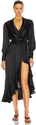 Zimmermann Silk Wrap Midi Dress in Black | FWRD