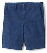Lands' End Boys Husky Chambray Cadet Shorts-Indigo Chambray