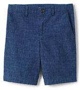 Lands' End Boys Slim Chambray Cadet Shorts-Indigo Chambray
