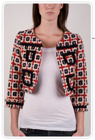 Bonnie Cropped Jacket in Red Tweed