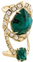 Alexis Bittar Miss Havisham Mosaic Chrysocolla & Crystal Geometric Cocktail Ring