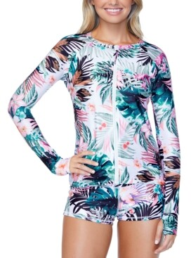 Raisins Juniors' Eco-Capsule Floral-Print Rash Guard, Created for Macy's Women's Swimsuit