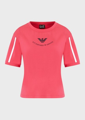 Ea7 Cropped T-Shirt With Logo