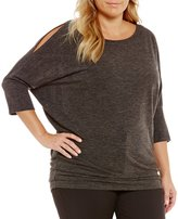 Gibson & Latimer Plus Dolman Sleeve Cold Shoulder Knit