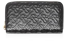 Burberry Monogram Leather Zip Around Wallet