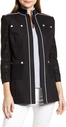 Ming Wang Piping Detail Cotton Blend Jacket