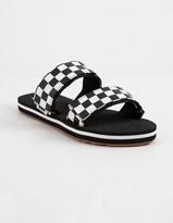 Vans Cayucas Checkerboard Black Womens Velcro Slide Sandals