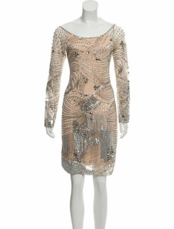 Farah Khan Barrymore Silk Dress Tan