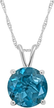 "Sterling Silver Solitaire Gemstone Pendant w/ 18"" Chain"