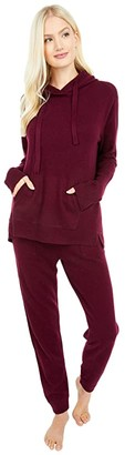 Splendid Stella Cashmere Hoodie with Front Pockets (Black Cherry) Women's Clothing