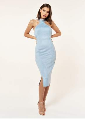The Girlcode SUEDE MIDI DRESS WITH NECK STUD