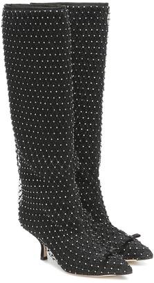 Marco De Vincenzo Crystal-embellished knee-high boots